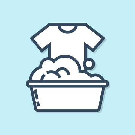 Blue line Plastic basin with soap suds icon isolated on blue background. Bowl with water. Washing clothes, cleaning equipment. Vector Illustration Illusztráció