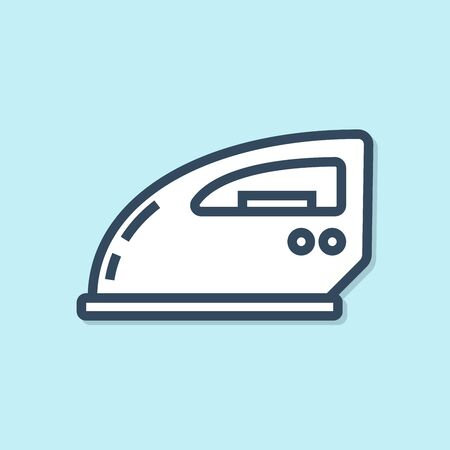 Blue line Electric iron icon isolated on blue background. Steam iron. Vector Illustration