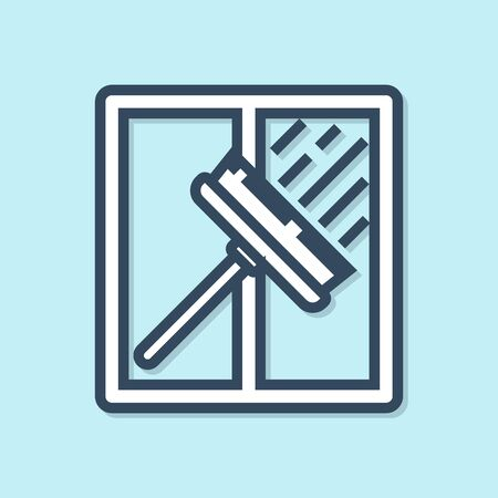 Blue line Cleaning service with of rubber cleaner for windows icon isolated on blue background. Squeegee, scraper, wiper. Vector Illustration Иллюстрация