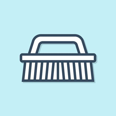 Blue line Brush for cleaning icon isolated on blue background. Vector Illustration Иллюстрация
