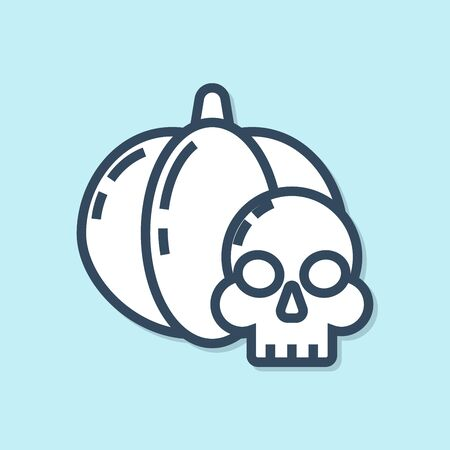 Blue line Pumpkin and skull icon isolated on blue background. Happy Halloween party. Vector Illustration Ilustração
