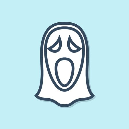 Blue line Funny and scary ghost mask for Halloween icon isolated on blue background. Happy Halloween party. Vector Illustration Illustration