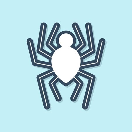 Blue line Spider icon isolated on blue background. Happy Halloween party. Vector Illustration