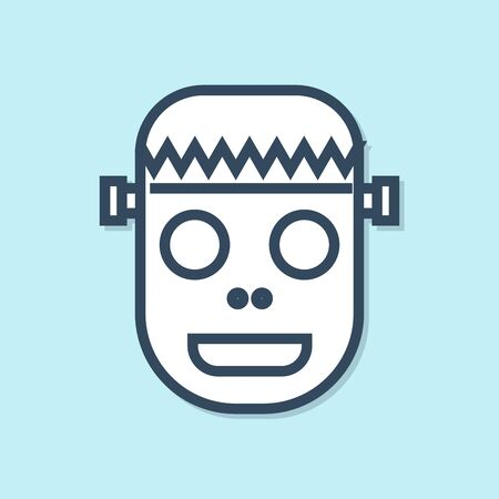 Blue line Zombie mask icon isolated on blue background. Happy Halloween party. Vector Illustration