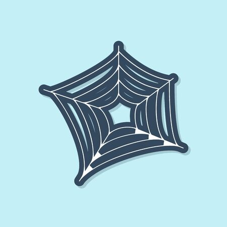 Blue line Spider web icon isolated on blue background. Cobweb sign. Happy Halloween party. Vector Illustration