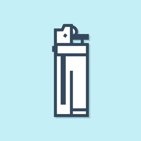 Blue line Lighter icon isolated on blue background. Vector Illustration Foto de archivo - 134383471