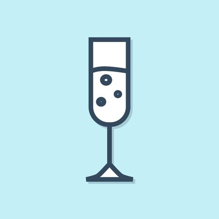 Blue line Glass of champagne icon isolated on blue background. Vector Illustration