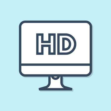 Blue line Computer PC monitor display with HD video technology icon isolated on blue background. Vector Illustration 向量圖像