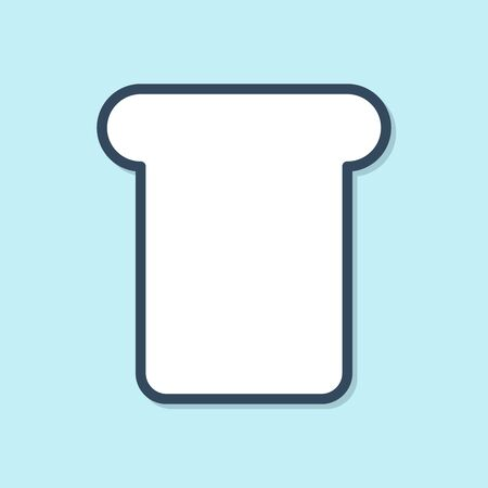 Blue line Bread toast for sandwich piece of roasted crouton icon isolated on blue background. Lunch, dinner, breakfast snack. Vector Illustration Ilustracja