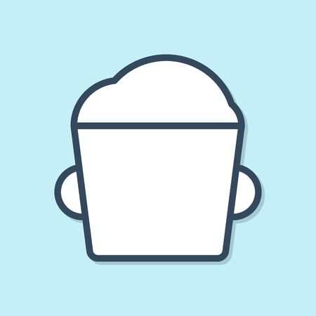 Blue line Bakery bowl dough icon isolated on blue background. Vector Illustration