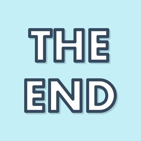 Blue line The End handwritten inscription icon isolated on blue background. Closing movie frame. Movie ending screen. Vector Illustration
