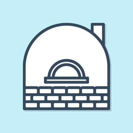 Blue line Brick stove icon isolated on blue background. Brick fireplace, masonry stove, stone oven icon. Vector Illustration
