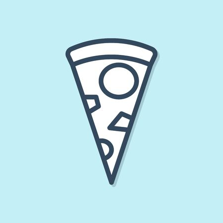 Blue line Slice of pizza icon isolated on blue background. Vector Illustration