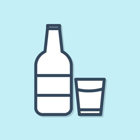 Blue line Closed glass bottle with milk and glass icon isolated on blue background. Vector Illustration 向量圖像