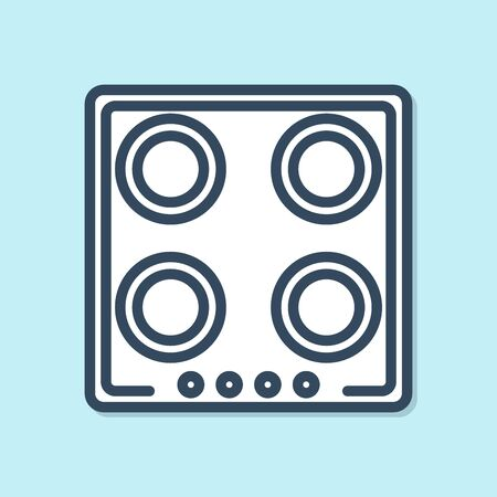 Blue line Gas stove icon isolated on blue background. Cooktop sign. Hob with four circle burners. Vector Illustration Foto de archivo - 134383663