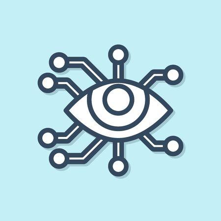 Blue line Eye scan icon isolated on blue background. Scanning eye. Security check symbol. Cyber eye sign. Vector Illustration Ilustração