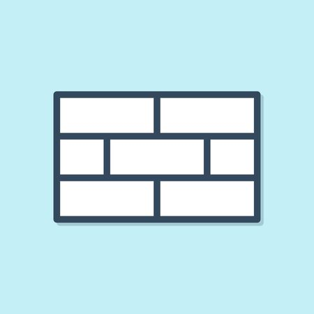 Blue line Bricks icon isolated on blue background. Vector Illustration