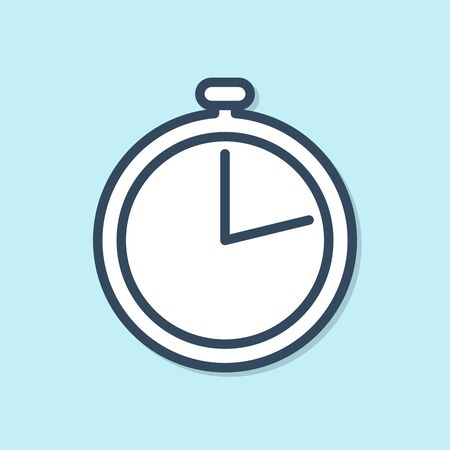 Blue line Stopwatch icon isolated on blue background. Time timer sign. Vector Illustration