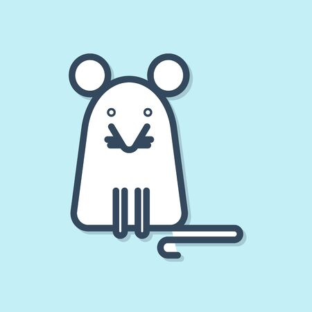 Blue line Rat icon isolated on blue background. Mouse sign. Vector Illustration Stock Illustratie