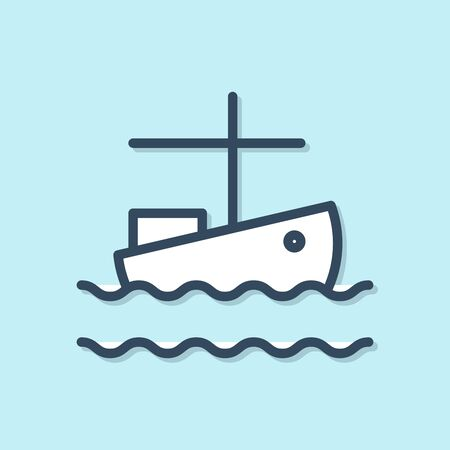 Blue line Fishing boat on water icon isolated on blue background. Vector Illustration
