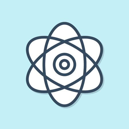 Blue line Atom icon isolated on blue background. Symbol of science, education, nuclear physics, scientific research. Electrons and protons sign. Vector Illustration