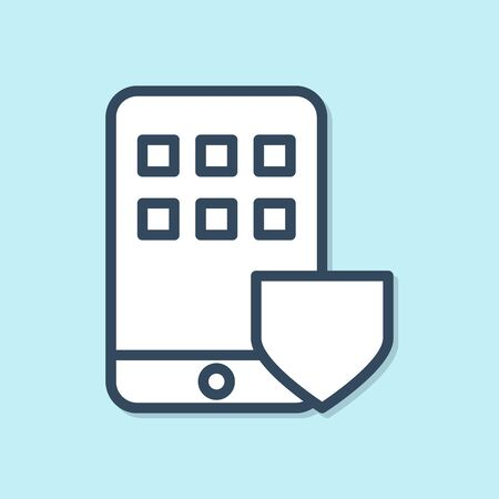 Blue line Mobile phone with shield icon isolated on blue background. Smartphone insurance. Security, safety, protection, protect concept. Vector Illustration