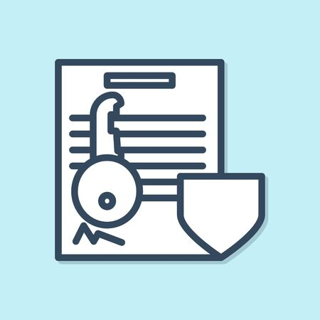 Blue line Document with key with shield icon isolated on blue background. Key insurance. Security, safety, protection, protect concept.  Vector Illustration