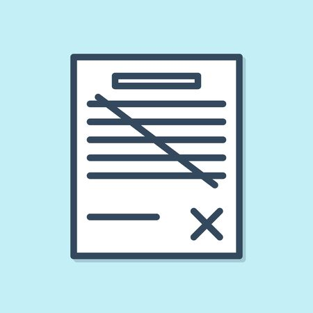 Blue line Delete file document icon isolated on blue background. Rejected document icon. Cross on paper.  Vector Illustration