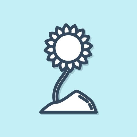 Blue line Sunflower icon isolated on blue background. Vector Illustration