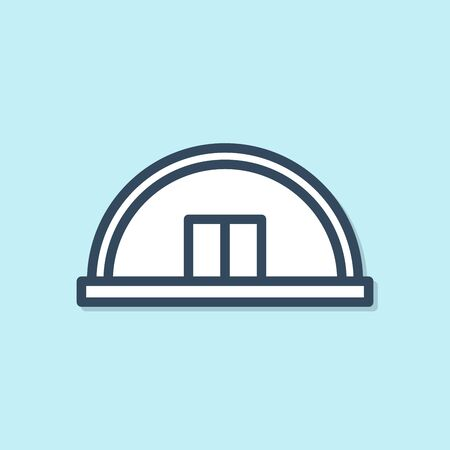 Blue line Hangar icon isolated on blue background. Vector Illustration