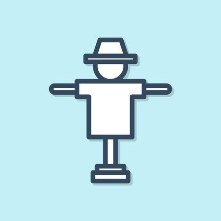 Blue line Scarecrow icon isolated on blue background. Vector Illustration