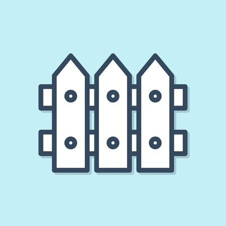 Blue line Garden fence wooden icon isolated on blue background. Vector Illustration
