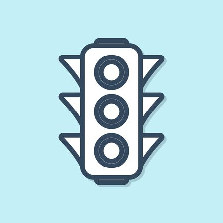 Blue line Traffic light icon isolated on blue background. Vector Illustration