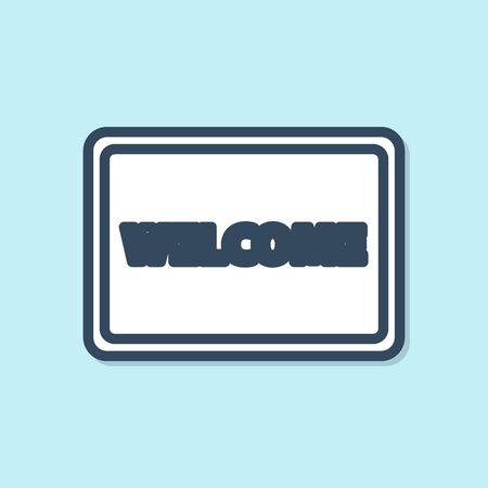 Blue line Doormat with the text Welcome icon isolated on blue background. Welcome mat sign. Vector Illustration