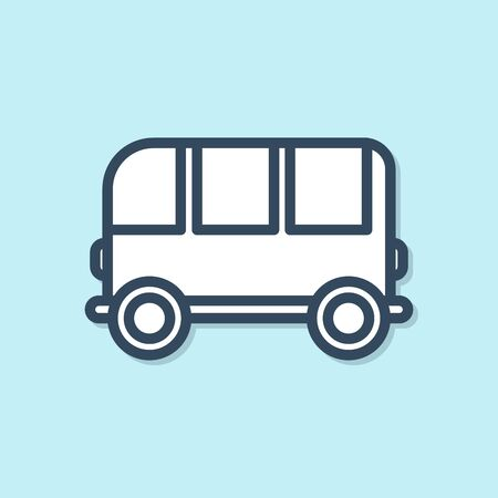Blue line School Bus icon isolated on blue background. Vector Illustration