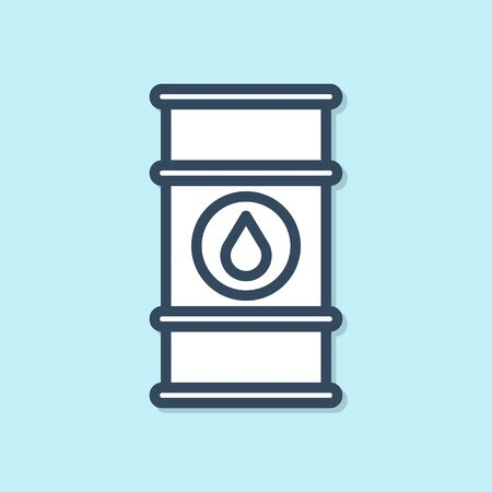 Blue line Oil barrel line icon isolated on blue background. Oil drum container. For infographics, fuel, industry, power, ecology. Vector Illustration