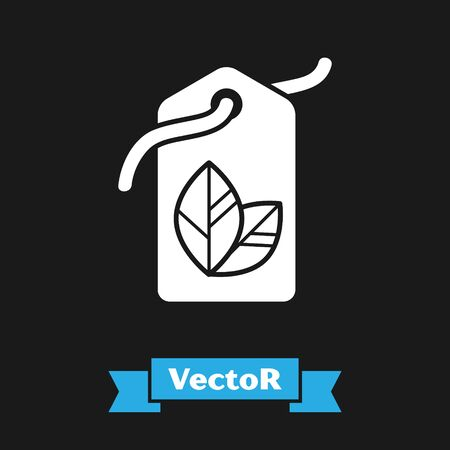 White Tag with leaf symbol icon isolated on black background. Banner, label, tag, logo, sticker for eco green. Vector Illustration