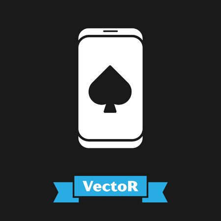 White Online poker table game icon isolated on black background. Online casino. Vector Illustration