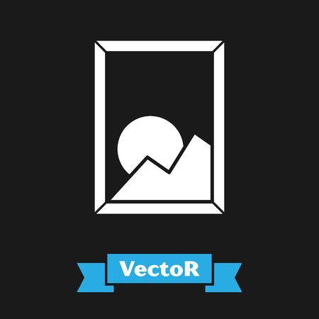 White Picture landscape icon isolated on black background. Vector Illustration