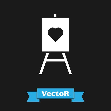 White Wood easel or painting art boards with heart icon isolated on black background. Vector Illustration