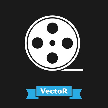 White Film reel icon isolated on black background. Vector Illustration
