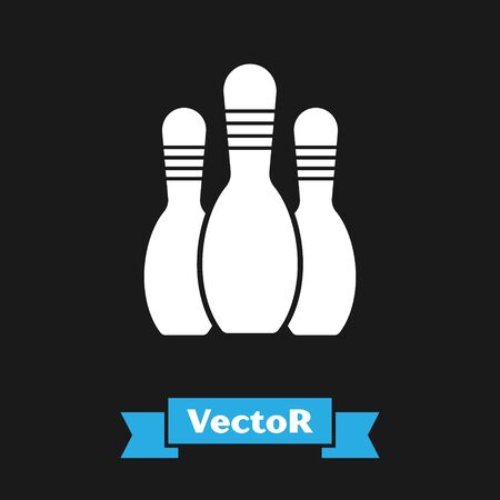 White Bowling pin icon isolated on black background.  Vector Illustration