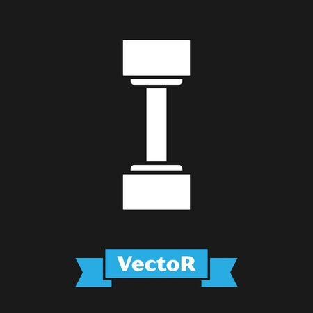 White Dumbbell icon isolated on black background. Muscle lifting icon, fitness barbell, gym icon, sports equipment symbol, exercise bumbbell.  Vector Illustration