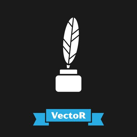 White Feather and inkwell icon isolated on black background.  Vector Illustration