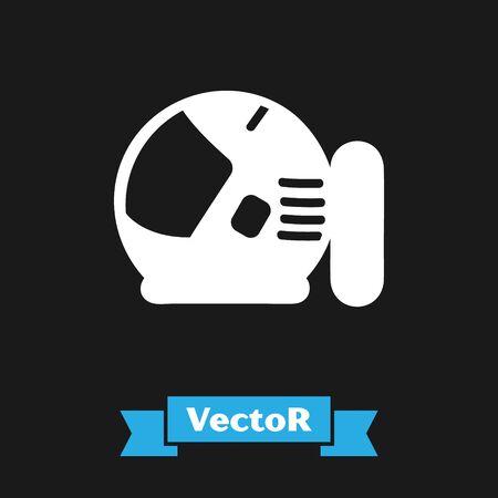 White Astronaut helmet icon isolated on black background. Vector Illustration