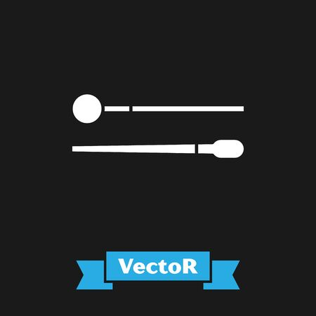 White Drum sticks icon isolated on black background. Musical instrument. Vector Illustration Illustration