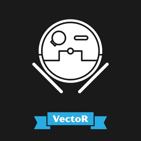 White Robot vacuum cleaner icon isolated on black background. Home smart appliance for automatic vacuuming, digital device for house cleaning. Vector Illustration