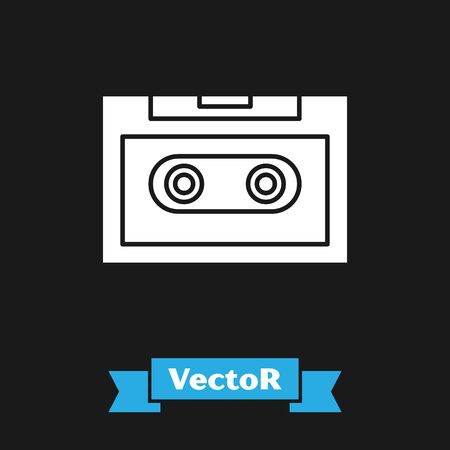 White Retro audio cassette tape icon isolated on black background. Vector Illustration