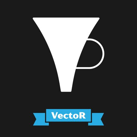 White Funnel or filter icon isolated on black background. Vector Illustration