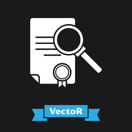 White Document with search icon isolated on black background. File and magnifying glass icon. Analytics research sign. Vector Illustration Çizim